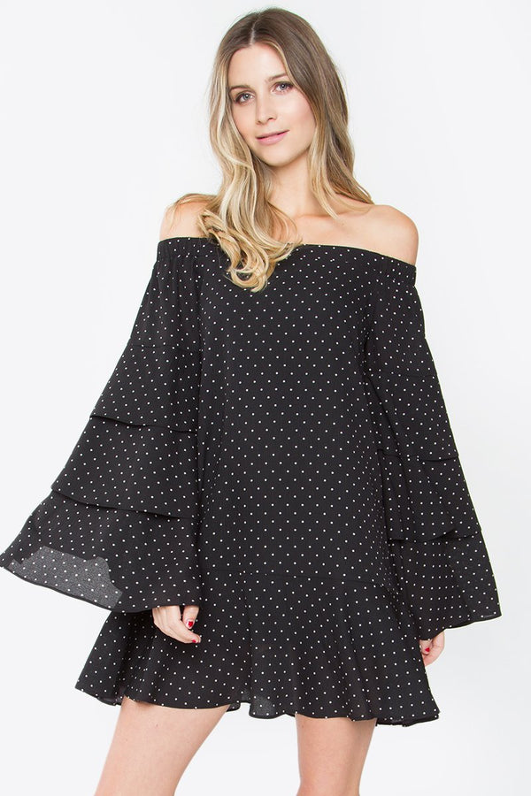 Dot Stuff Off the Shoulder Dress