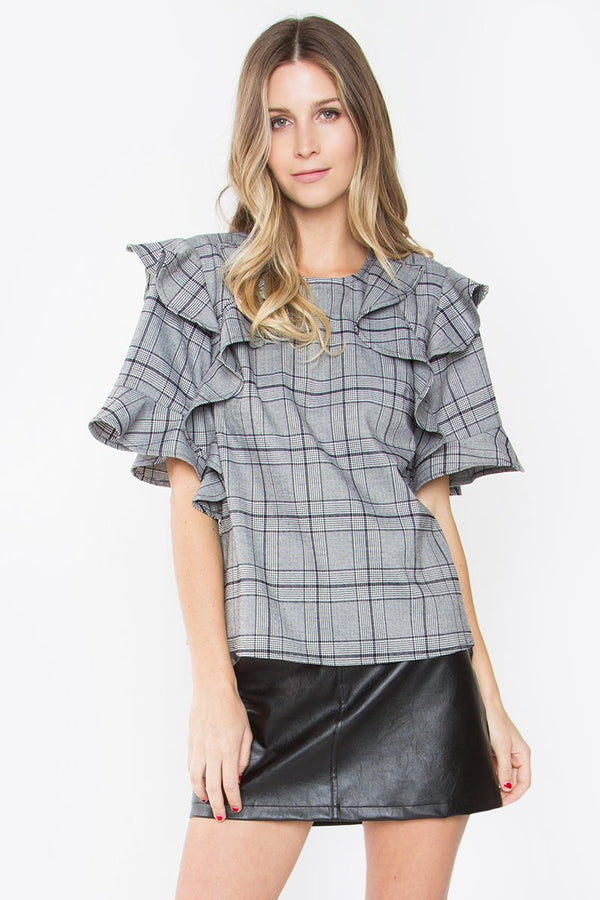 Sheffield Plaid Ruffle Top