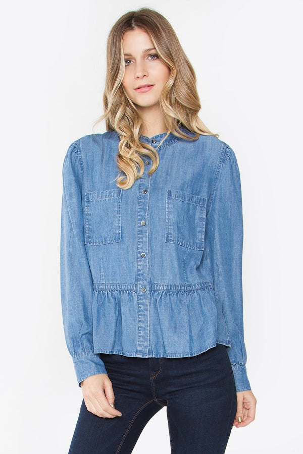 Britsy Denim Peplum Top