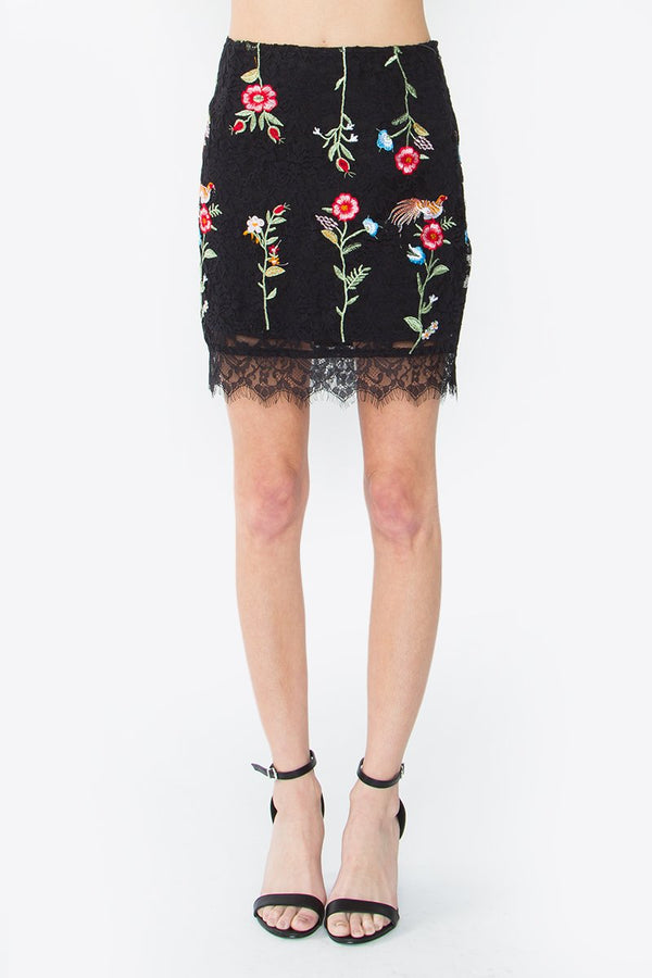 Lenda Embroidered Lace Skirt