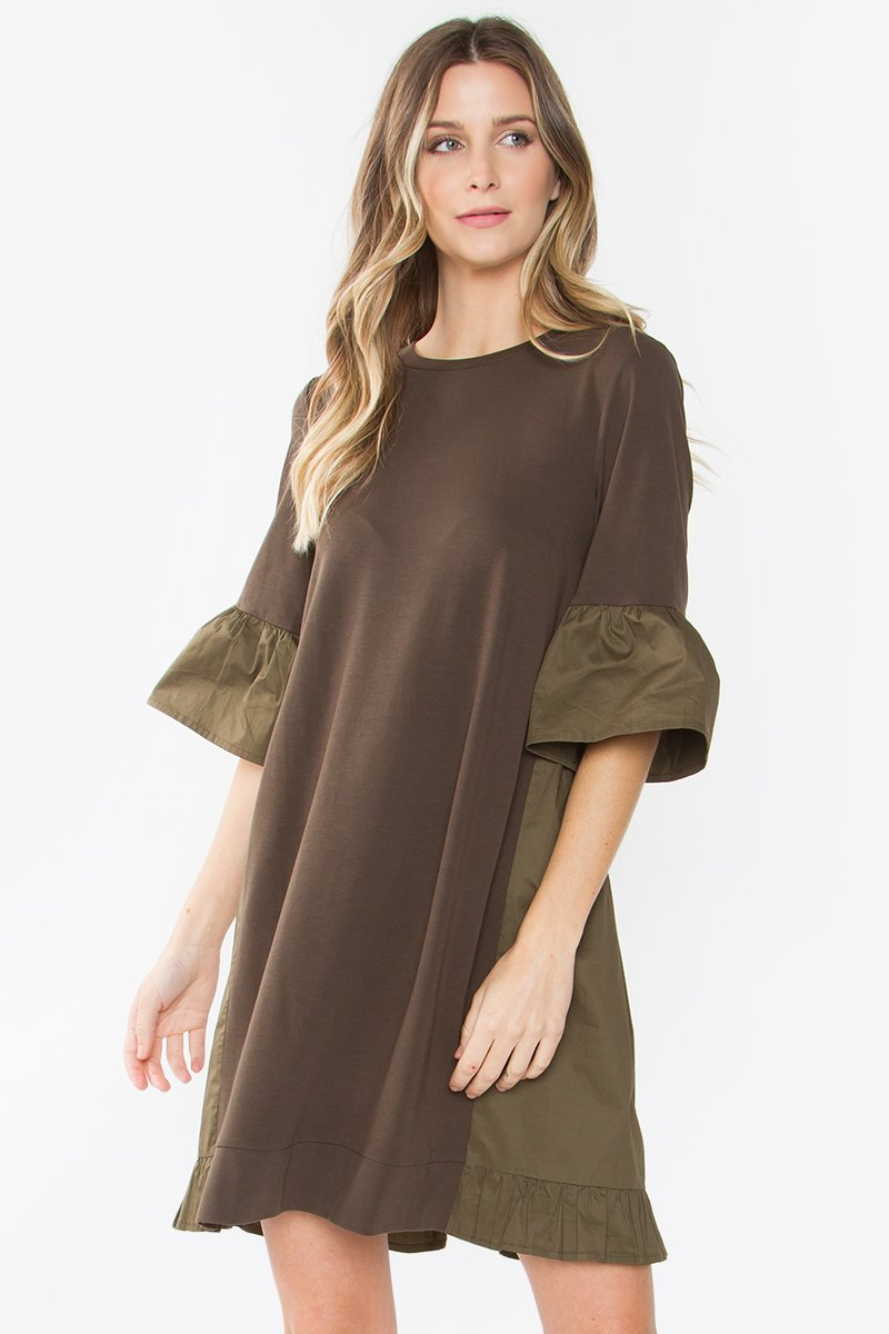 Lukas Knit Poplin Olive Dress