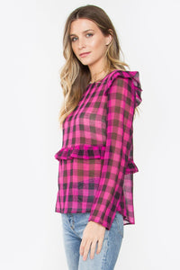 Leonor Pink Plaid Mesh Top