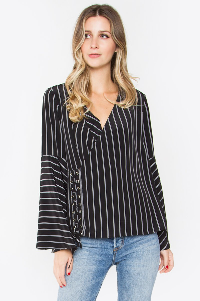 Miri Lace-Up Striped Top