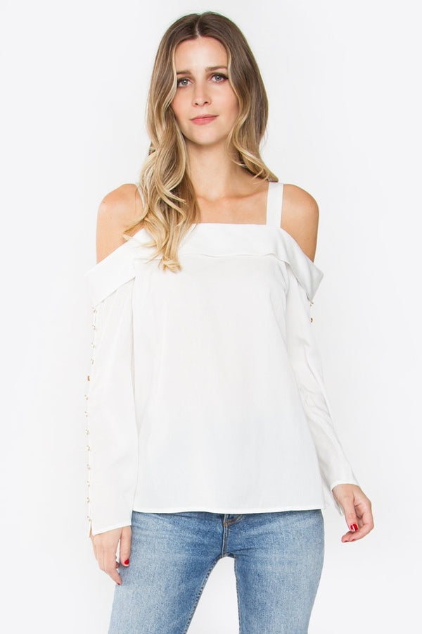 Antonia Button Cold Shoulder Top
