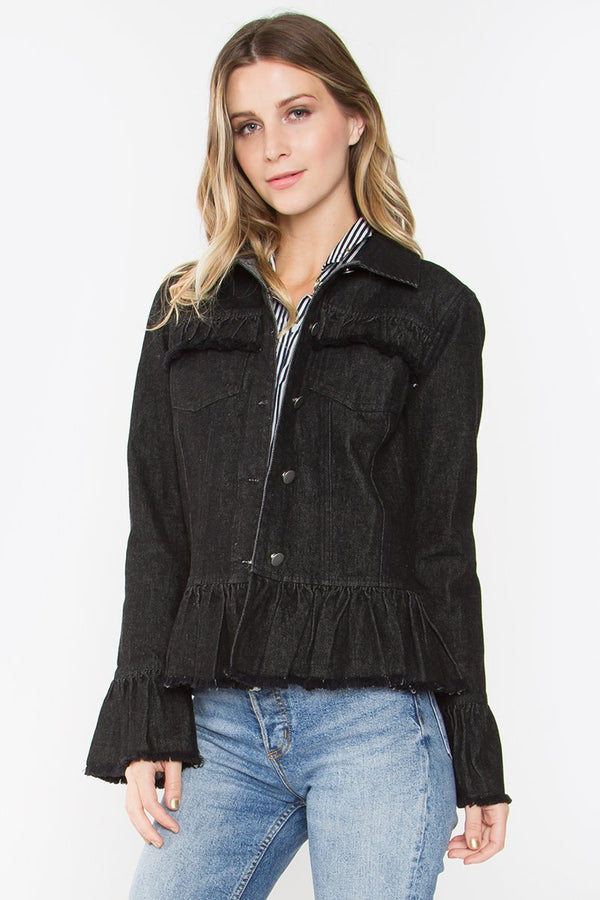 Merena Ruffled Denim Jacket