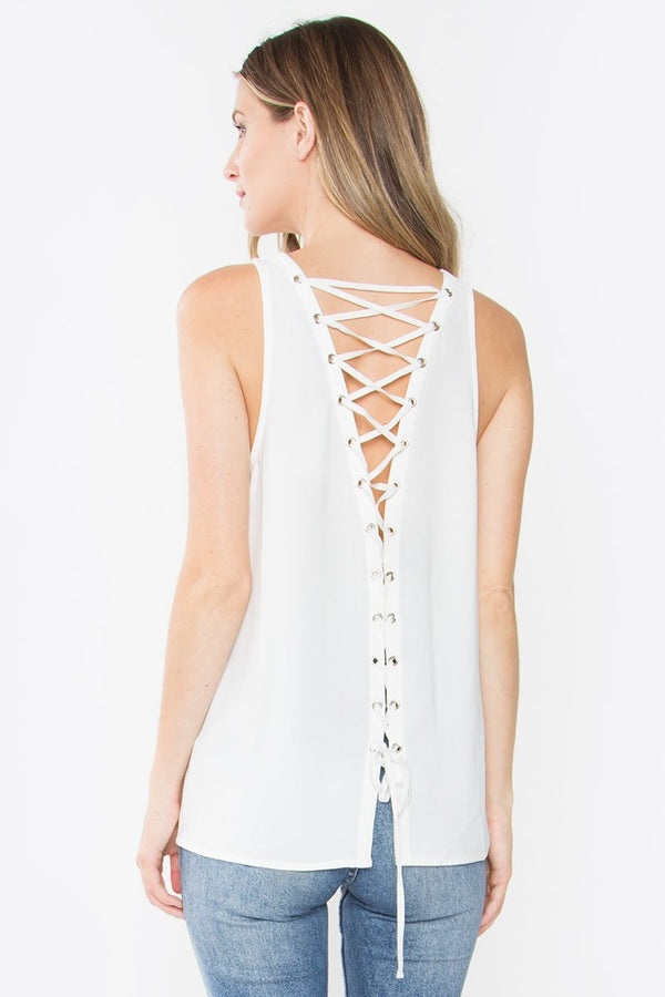 Wynn Lace-Up Back Top
