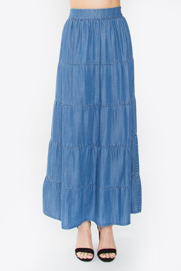 Dolores Chambray Maxi Skirt
