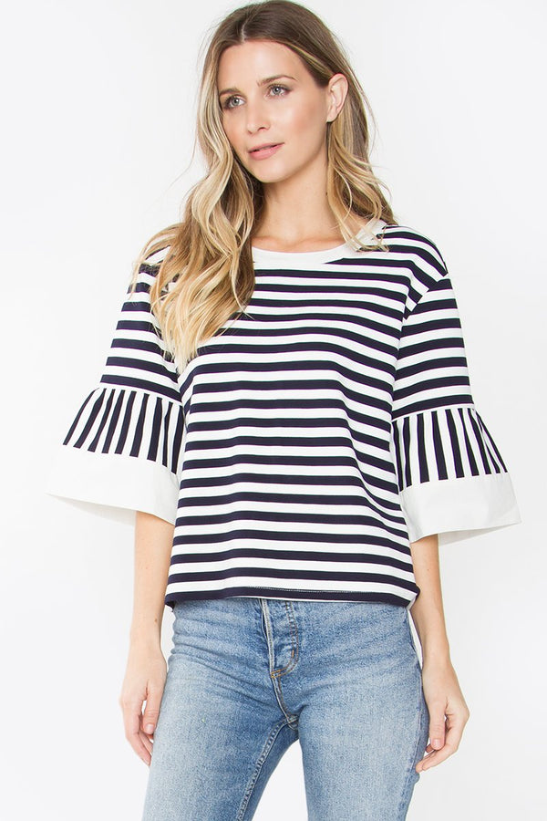 Aurora Striped Bell Sleeve Top
