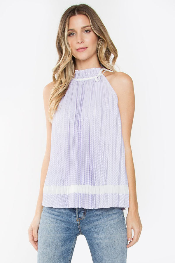 Alana High Neck Pleated Top