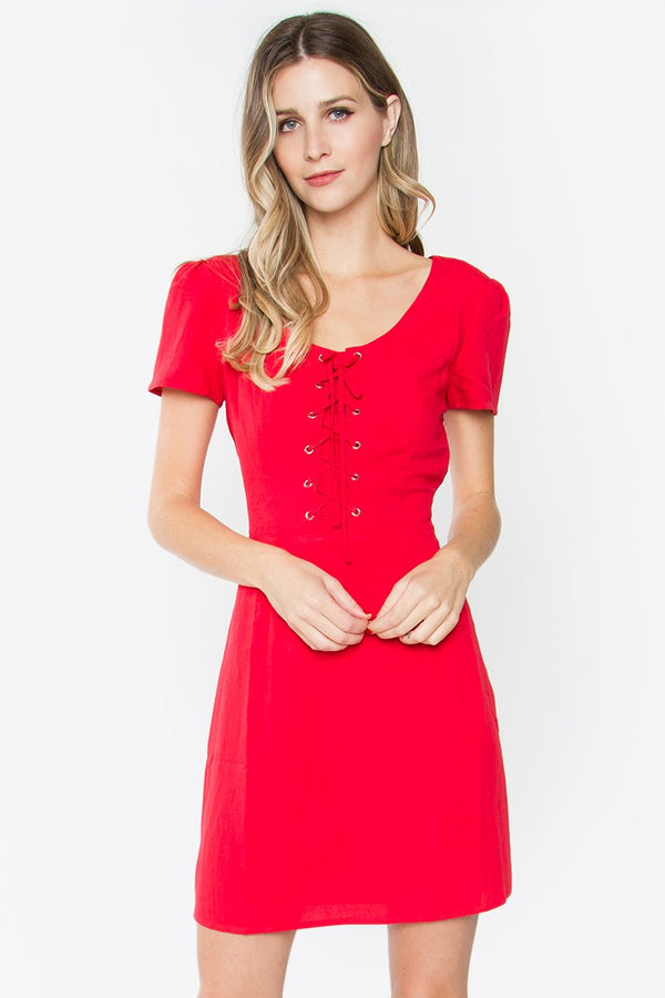 Vanessa Lace-Up Dress