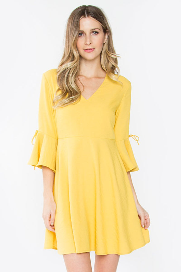 Merino Trumpet Sleeve Dress