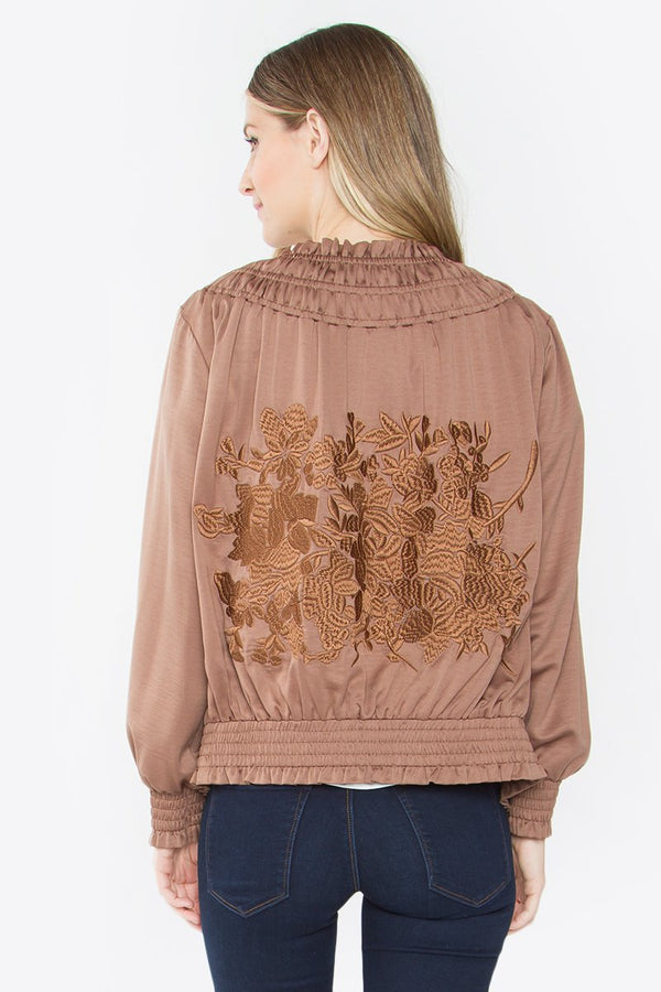 Alia Embroidery Smocked Jacket
