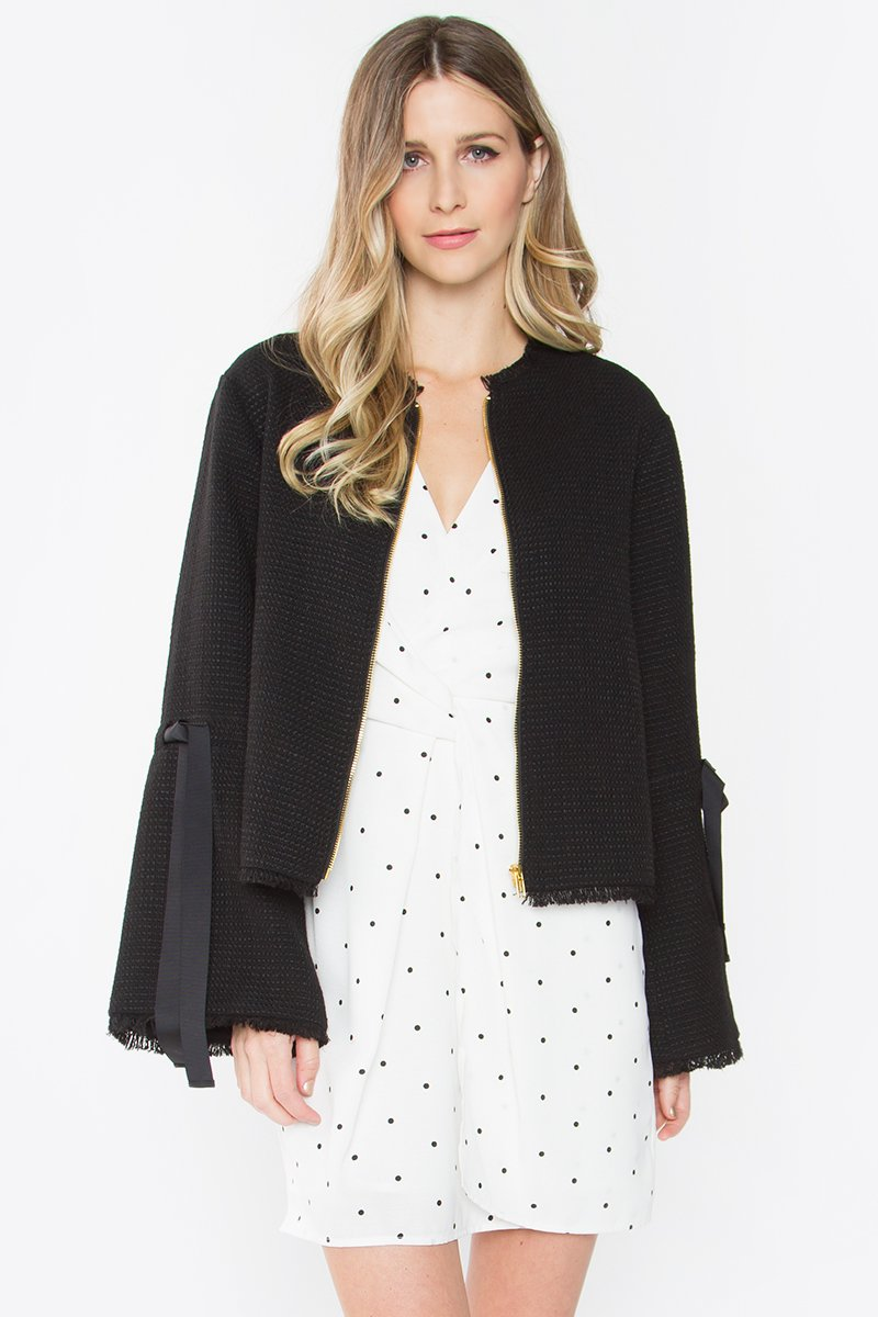 Jojo Frayed Bell Sleeve Jacket