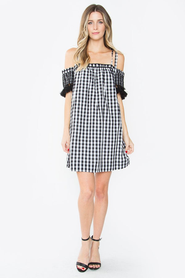 Carlita Gingham Open Shoulder Dress