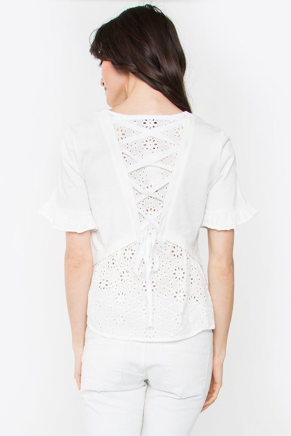 Carrson White Knit Top