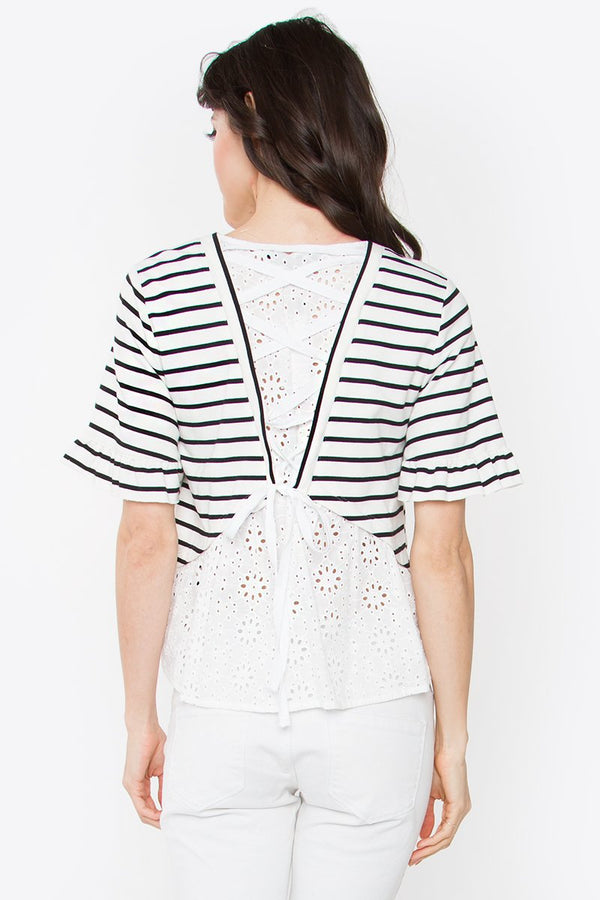 Carrson Striped Knit Top