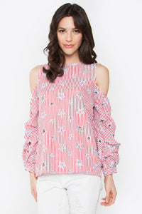 Leila Star & Stripe Cold Shoulder Shirt