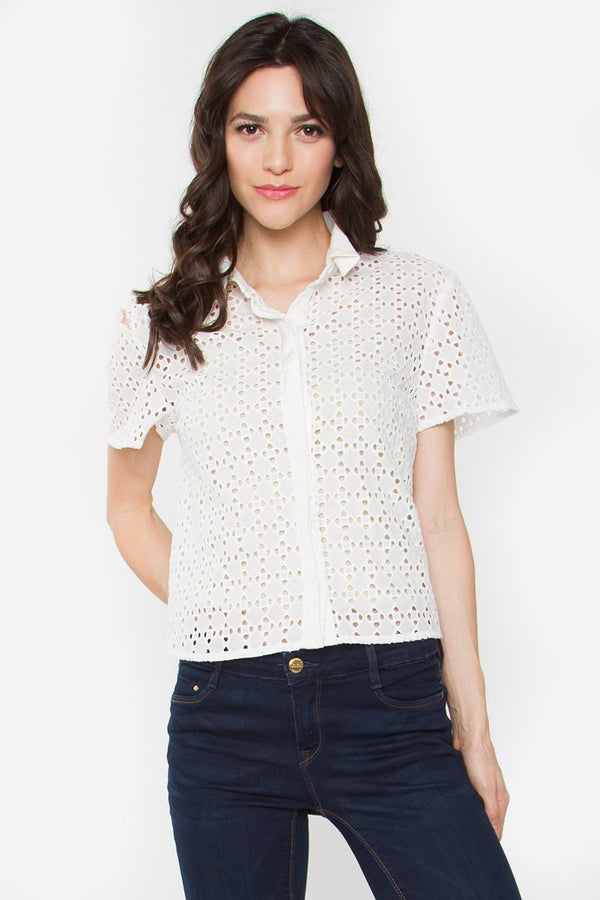Lynette Crochet Button-Down Shirt