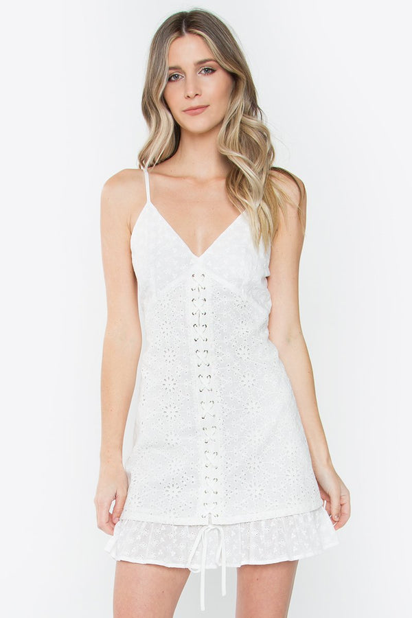 Magnolia Lace Up Eyelet Dress