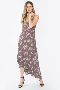 Vale Satin Floral Ruffle Dress