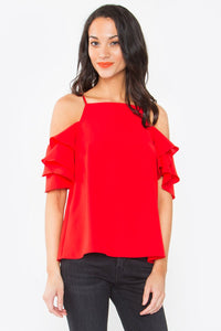 Daniella Ruffled Cold Shoulder Top