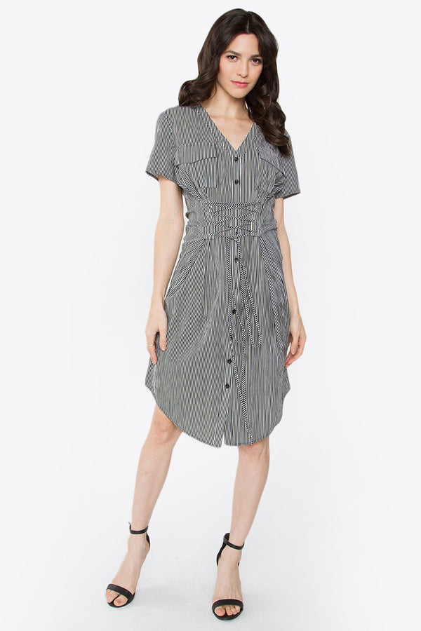 Saira Corset Striped Dress