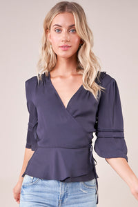 Query Pleated Wrap Top