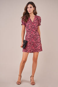 Lilian Pink Leopard Wrap Dress
