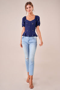 Chasing Highs Puff Sleeve Peplum Top