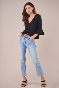 Boston Ruched Bell Sleeve Top