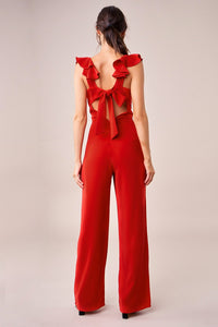 Up All Night Ruffle Sleeve Jumpsuit
