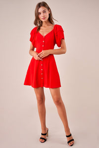 Lily Of The Valley Puff Sleeve Mini Dress