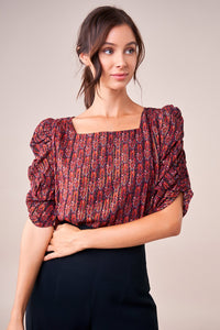Sensational State Metallic Puff Sleeve Blouse