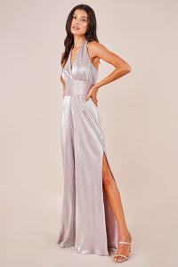 Magic Moment Pleated Sparkle Wide Leg Halter Jumpsuit