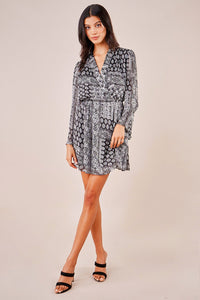 Read All About It Novelty Print Bell Sleeve Dress