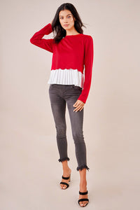 Gotta Have It Cherry Mix Media Sweater Top