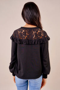 Picturesque Mixed Lace Sweatshirt