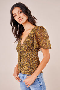 Cardamom Floral Button Down Blouse