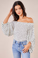Danae Polka Dot Off The Shoulder Balloon Sleeve Top