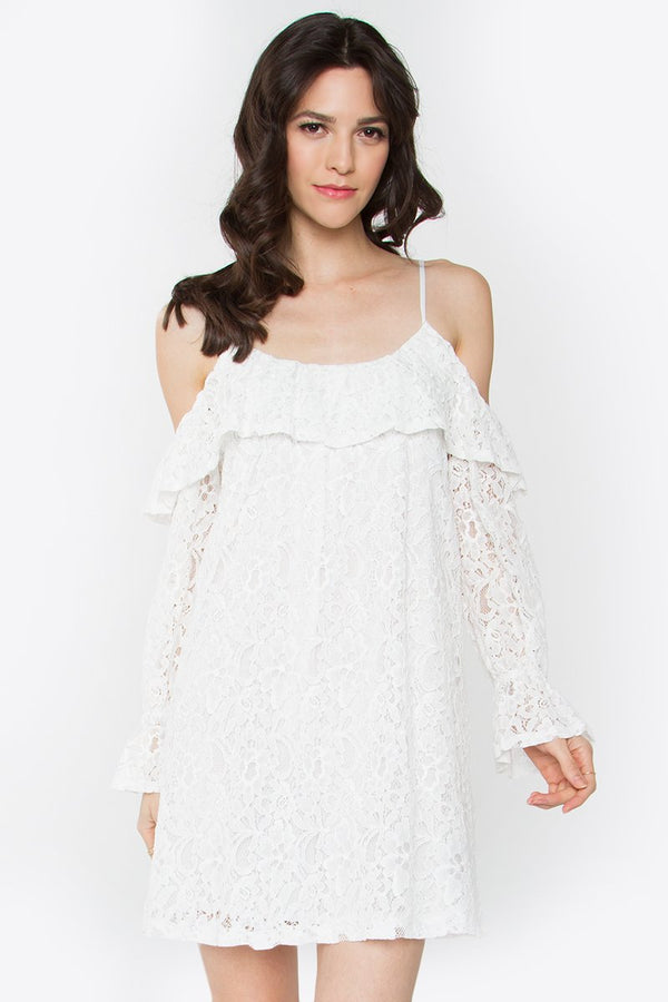 Garland Open Shoulder Lace Dress