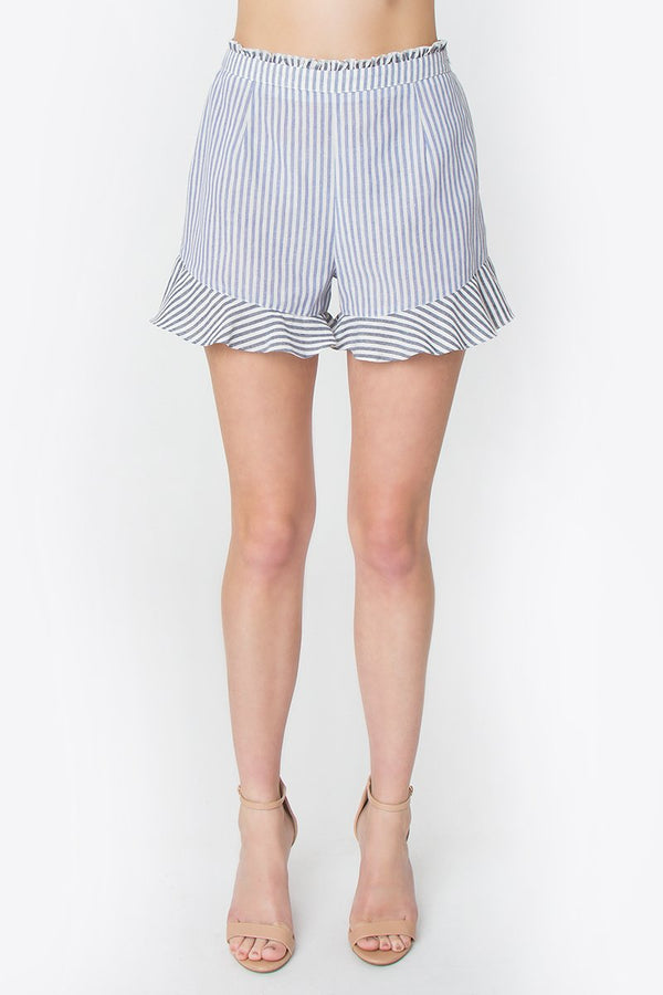 Adri Striped Ruffle Shorts