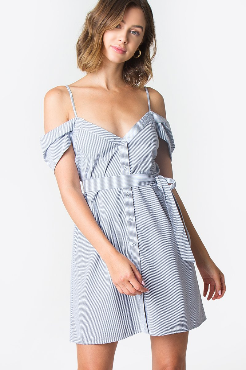 Feeling Blue Button Down Dress