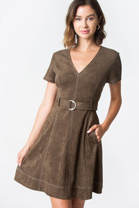 Clio Suede Stitch Dress