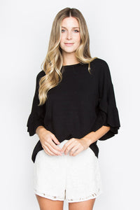 Tinley Ruffle Sleeve Sweater