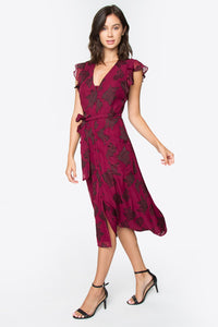 Lilou Flutter Sleeve Midi Dress