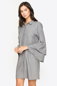Kimya Ruffle Sleeve Shirt Dress