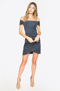 Wilder Suede Off The Shoulder Dress