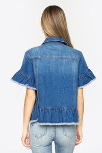 Kiva Ruffle Denim Jacket