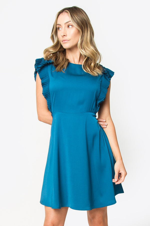 Marquis Pleated Sleeve Dress