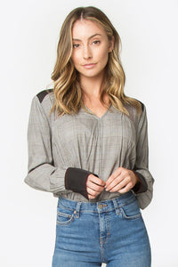 Gennie Plaid Mix Media Blouse